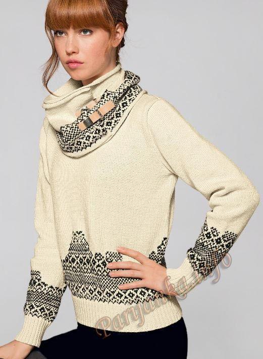 Жаккардовый пуловер с круглым вырезом горловины (ж) 119 Creations 2015/2016 Bergere de France №4881