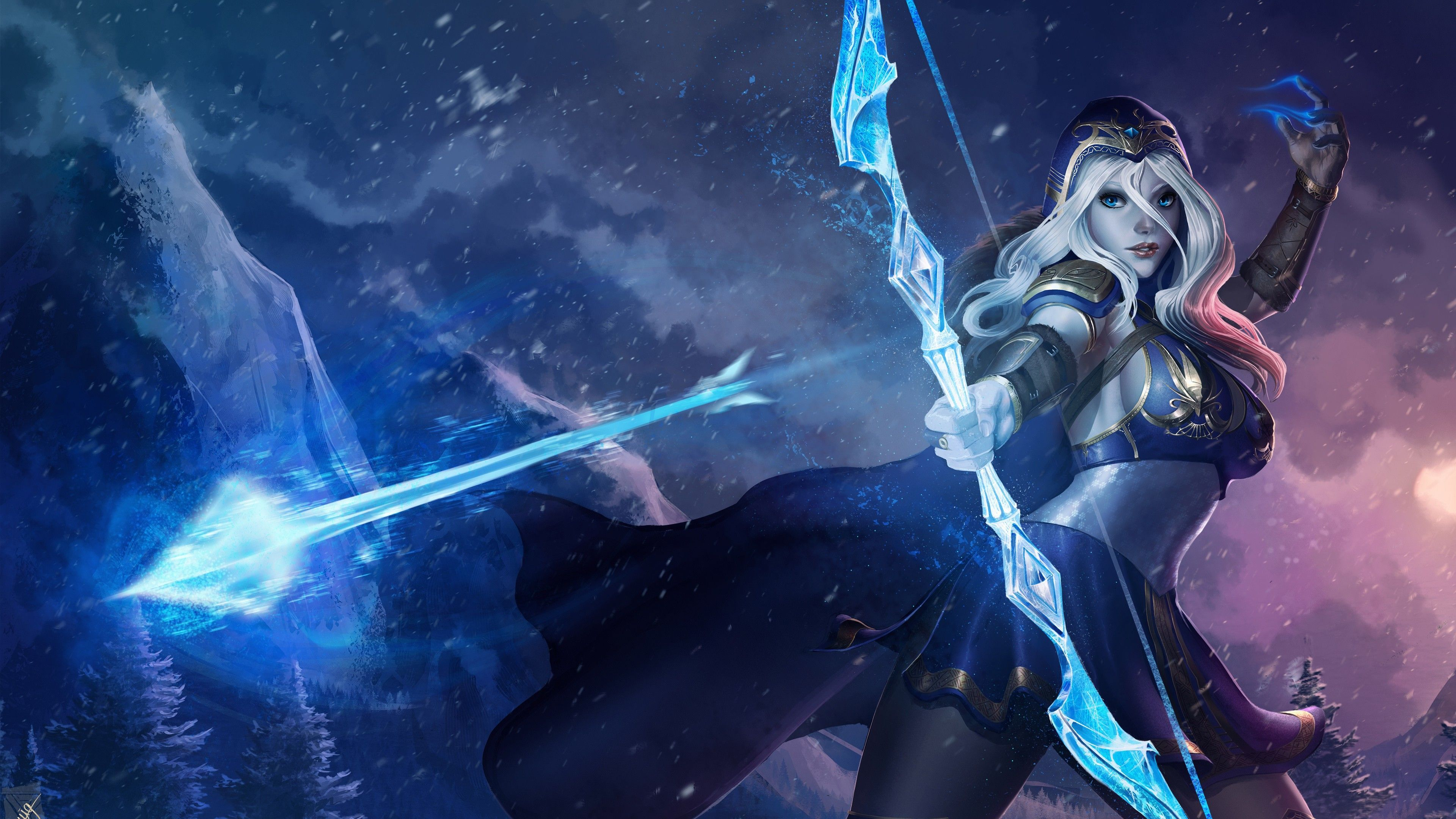 Ashe League Of Legends 4k Wallpaper Com Imagens Lol League Of