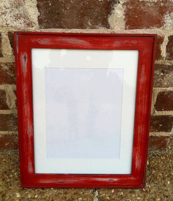 distressed 11x14 red picture frame shabby chic on etsy 3000 - Etsy Frames