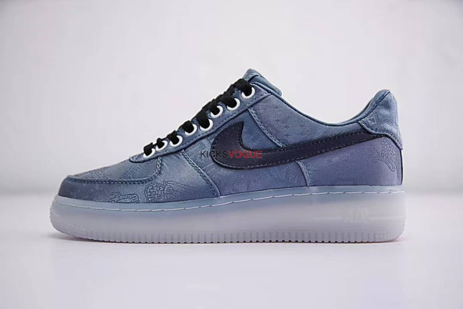 Custom Clot x Nike Air force 1 Silk Blue Indigo Dyed | Sapatos