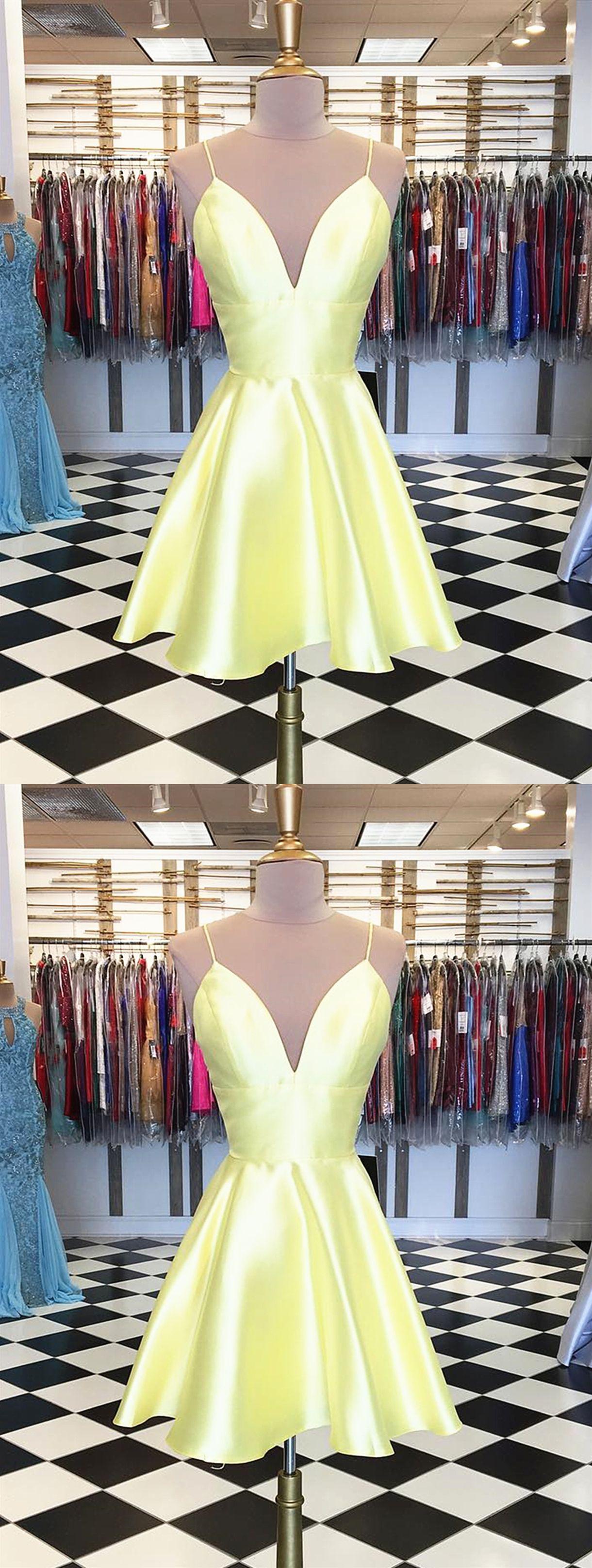 A line v neck short yellow prom dresses short yellow