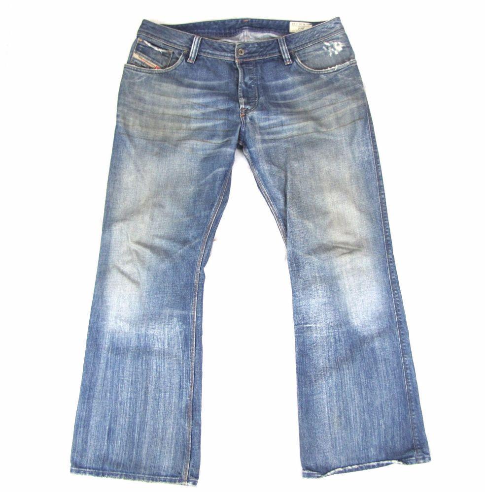 cb68eddd0e3 Diesel Zaf Jeans 38 x 32 Mens Boot Cut Distressed Grunge Denim Button Fly  Flared #DIESEL #BootCut