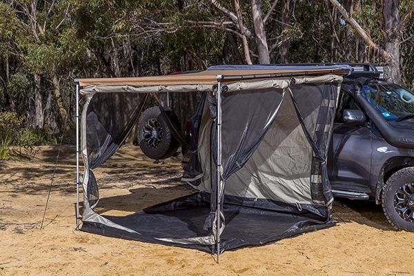 Once You Arrive At A Destination The Arb Awning Deploys And The Awning Room Easily Attaches To The Awning S Structure The Exte Awning Accessories Tent Awning