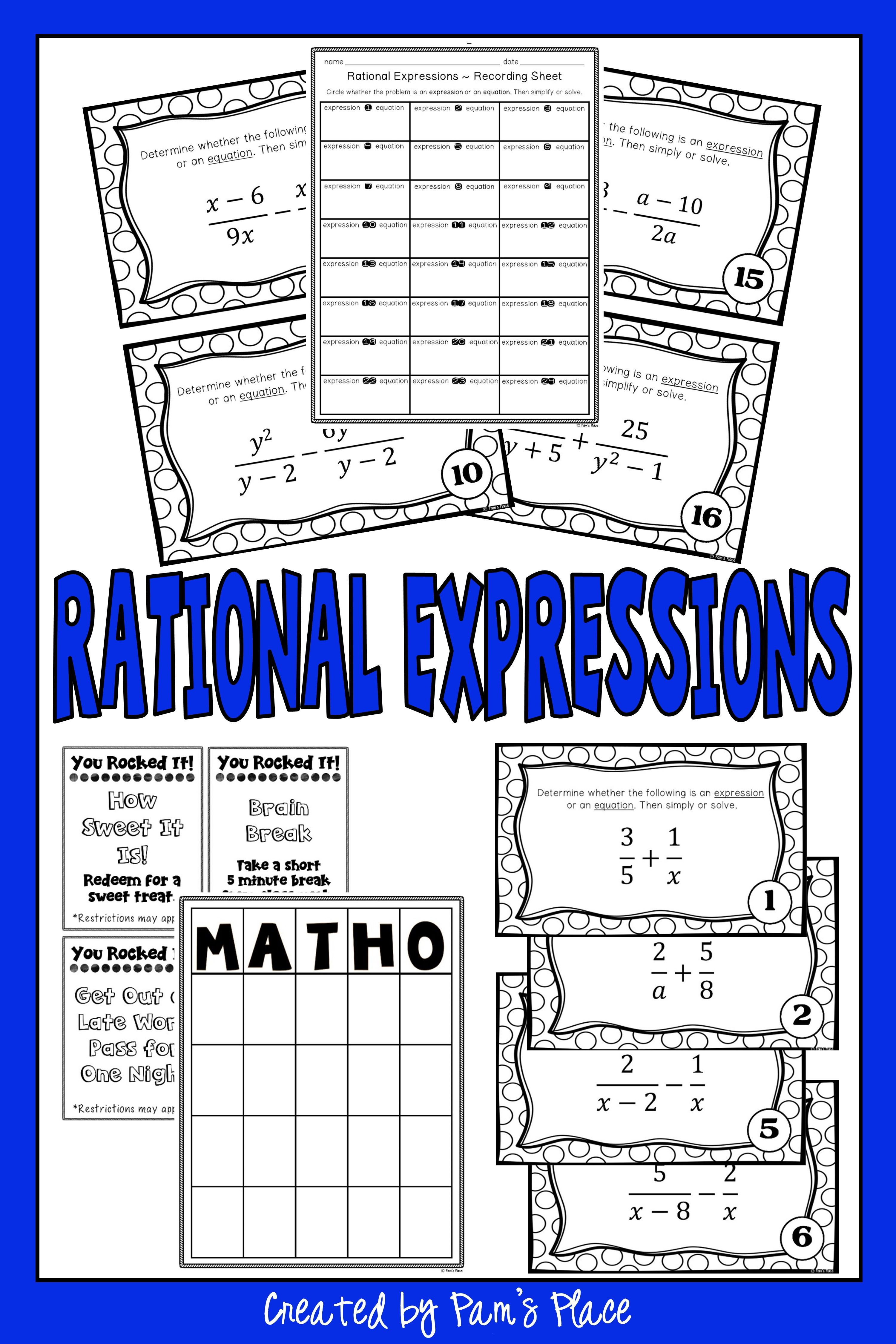 Rational Expressions Activity With Images