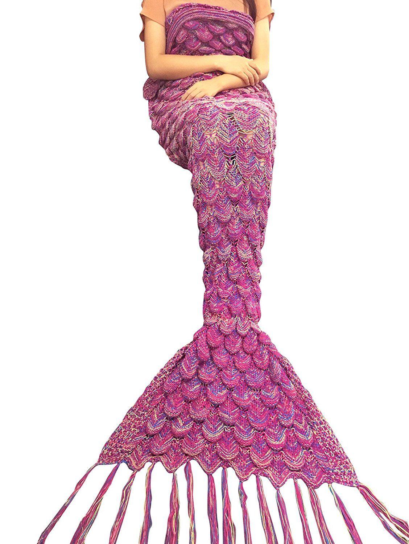 Tiaobug Meerjungfrau Schwanz Flosse Decke Handgemachte Gestrickte ...