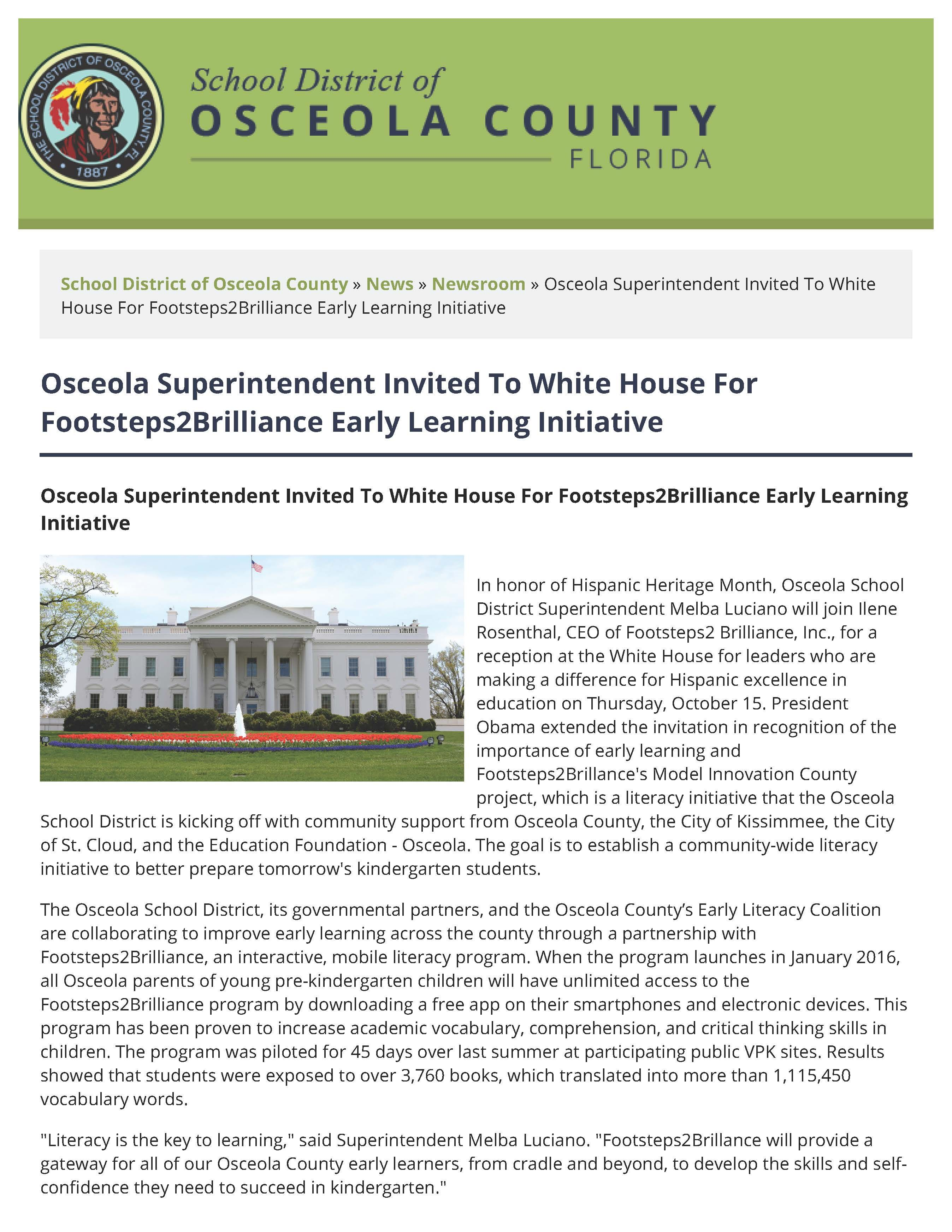 Osceola Superintendent Invited To White House For