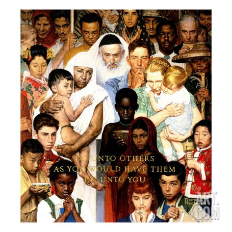 """Golden Rule"" (Do unto others), April 1,1961 Giclee Print by Norman Rockwell at Art.com"