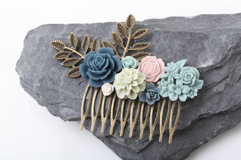 bridal hair comb, navy, blue, green wedding hair comb, flower hair