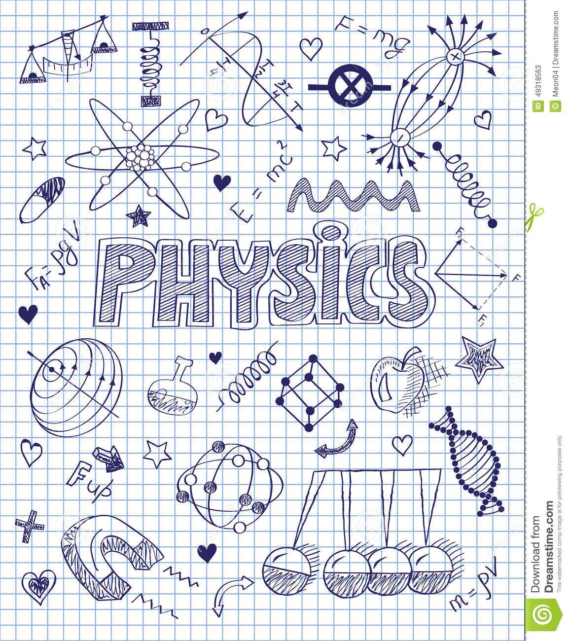 Hand Drawn Physics Set Stock Vector Image 49318563 School Binder Covers How To Draw Hands School Notebooks
