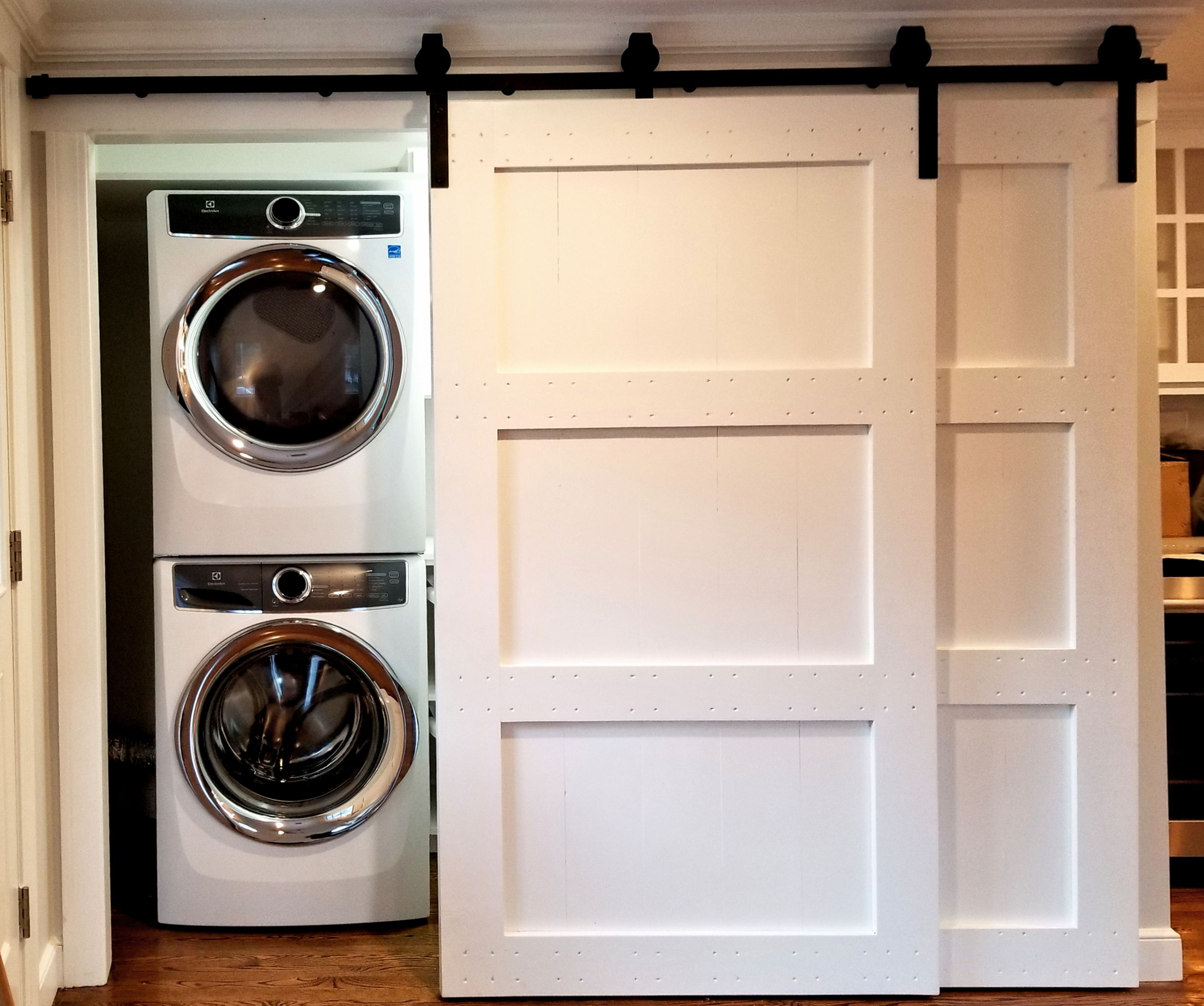 3 Panel Bypass Barndoors Closing Off A Laundry Room Laundry