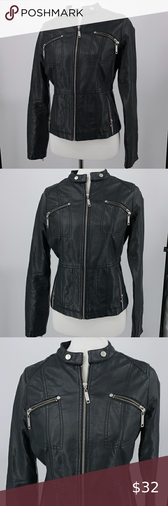 JouJou Moto Faux Leather Jacket Black Size Medium in 2020