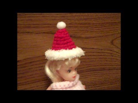Crochet Fashion Doll Santa Stocking Hat - How to Crochet a Doll Stocking...