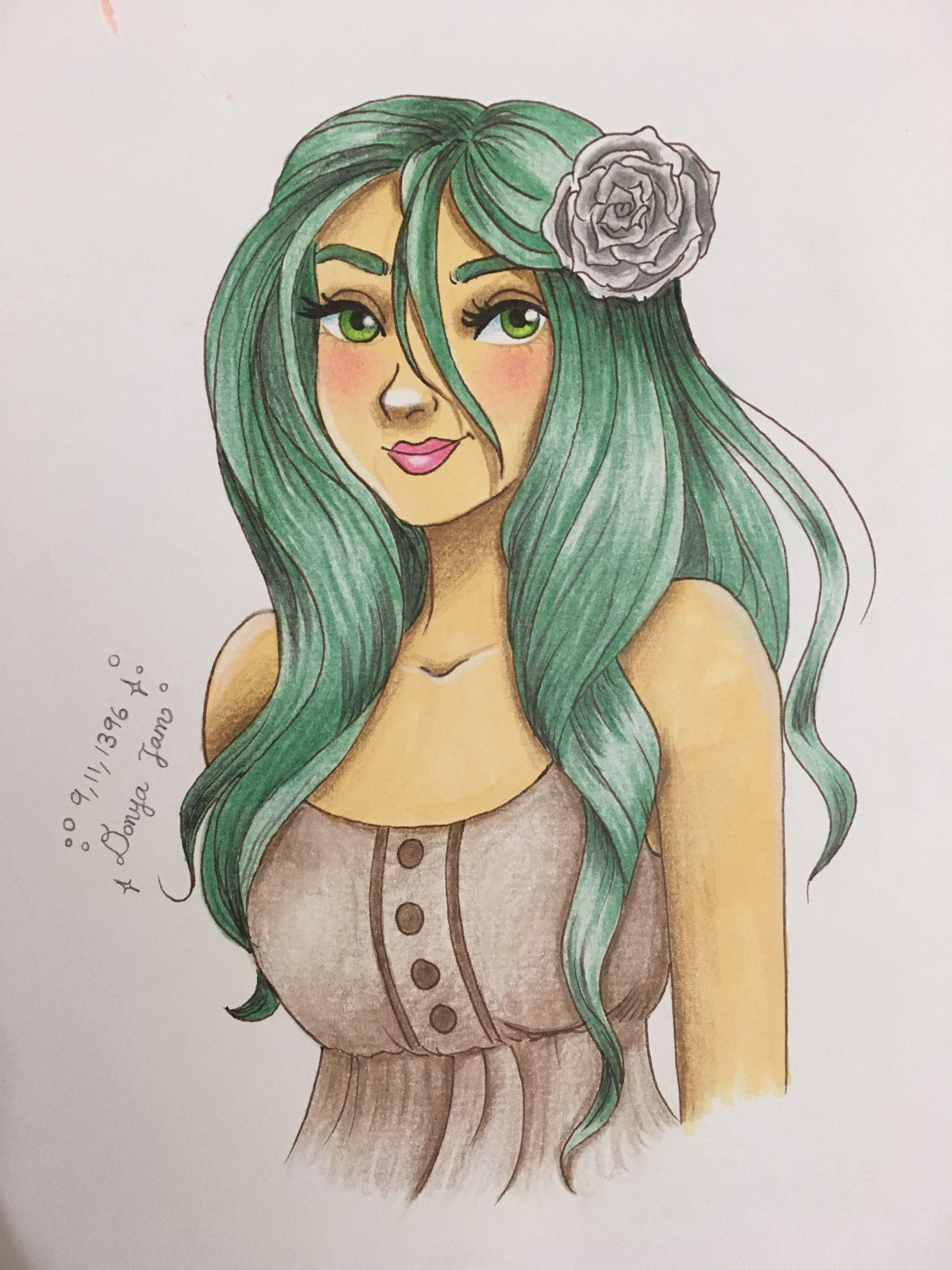Green Hair Don T Care Female Sketch My Girl Green Hair