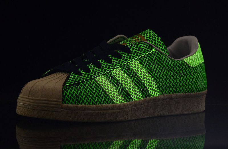 Adidas Glow In In In The Dark Superstar 80s G Snake Sko Blå Hvid 097584