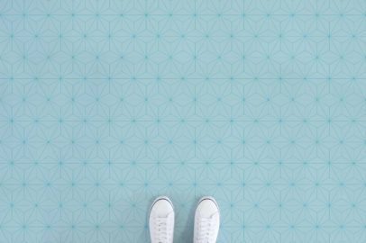 Asanoha World Blue Feet Vinyl Flooring Aqua Tiles Tile Effect Vinyl Flooring