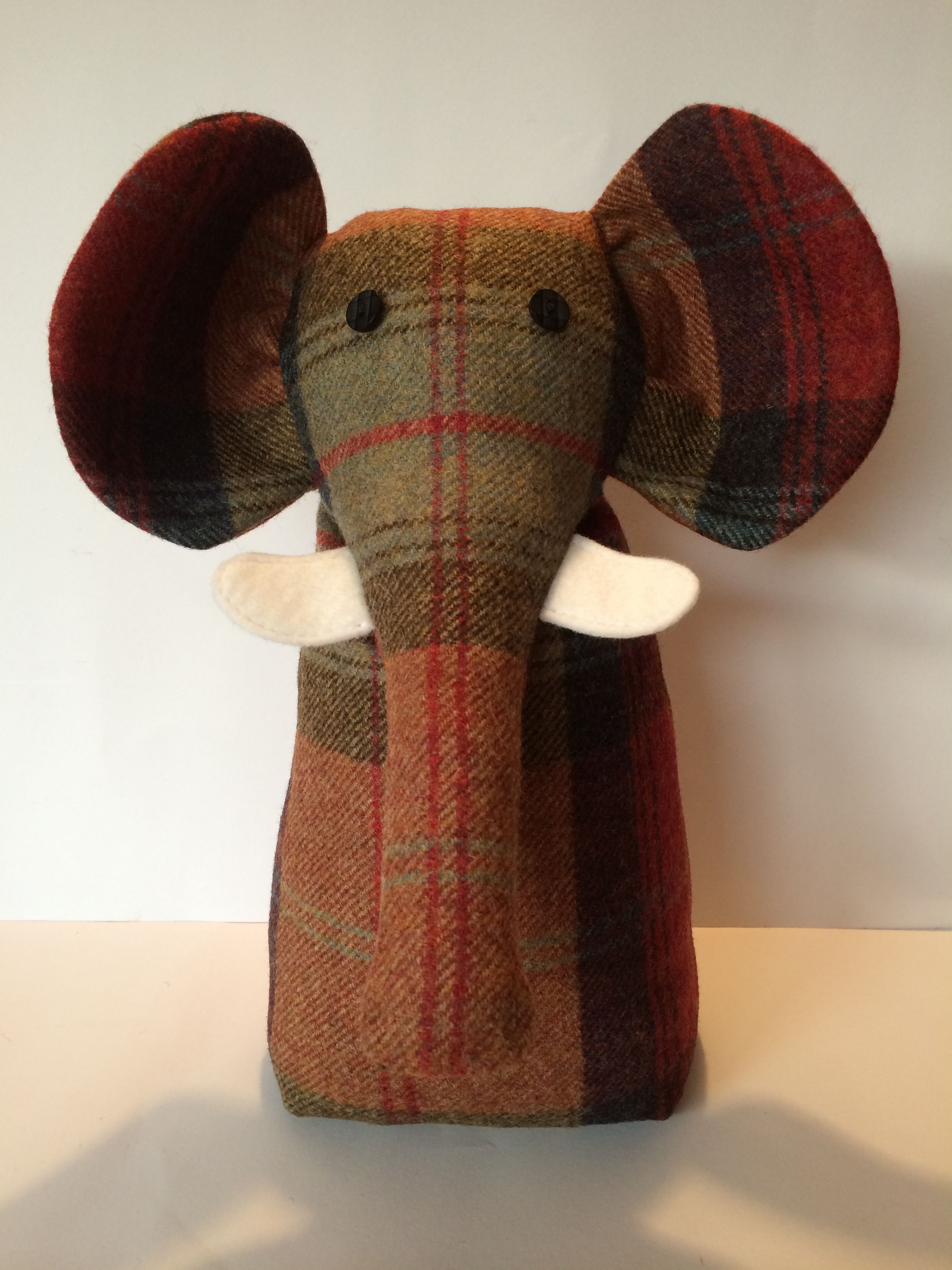 Tweed fabric elephant door stop exclusively designed for Door stop idea