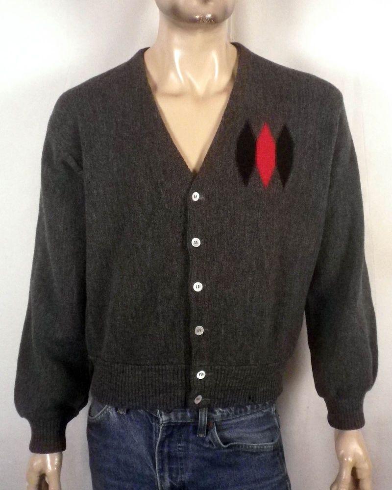 vtg 50s Boyds gray Red/Black Diamond Pattern Cardigan Sweater ...