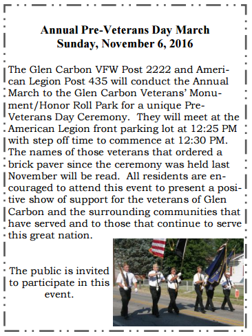 2016 Glen Carbon PreVeterans Day March, Sun, Nov 6, 12