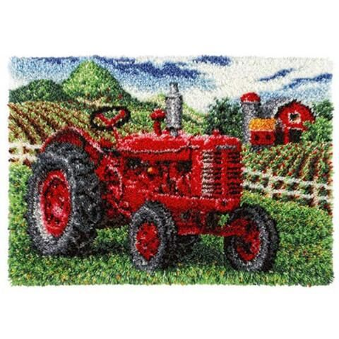 CraftwaysR Vintage Red Tractor Latch Hook Kit
