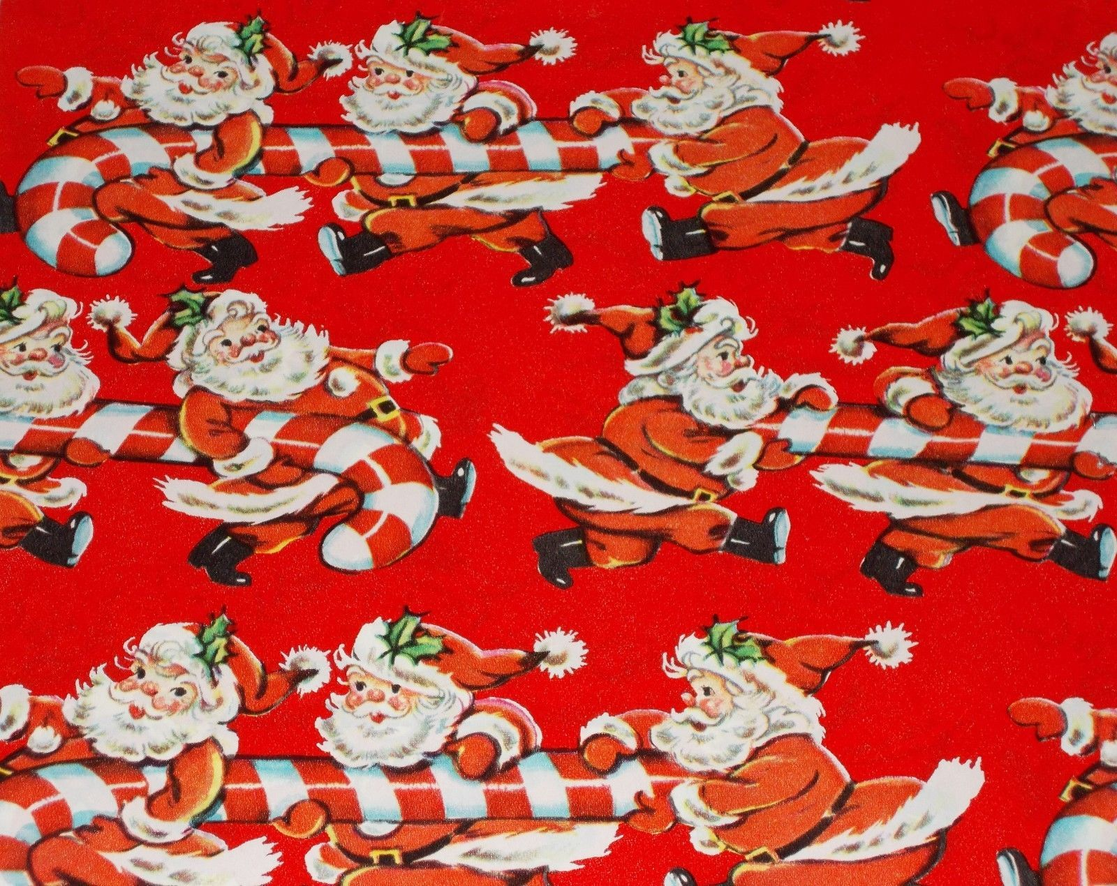 Vtg Christmas Wrapping Paper Gift Wrap Mid Century Santa Candy