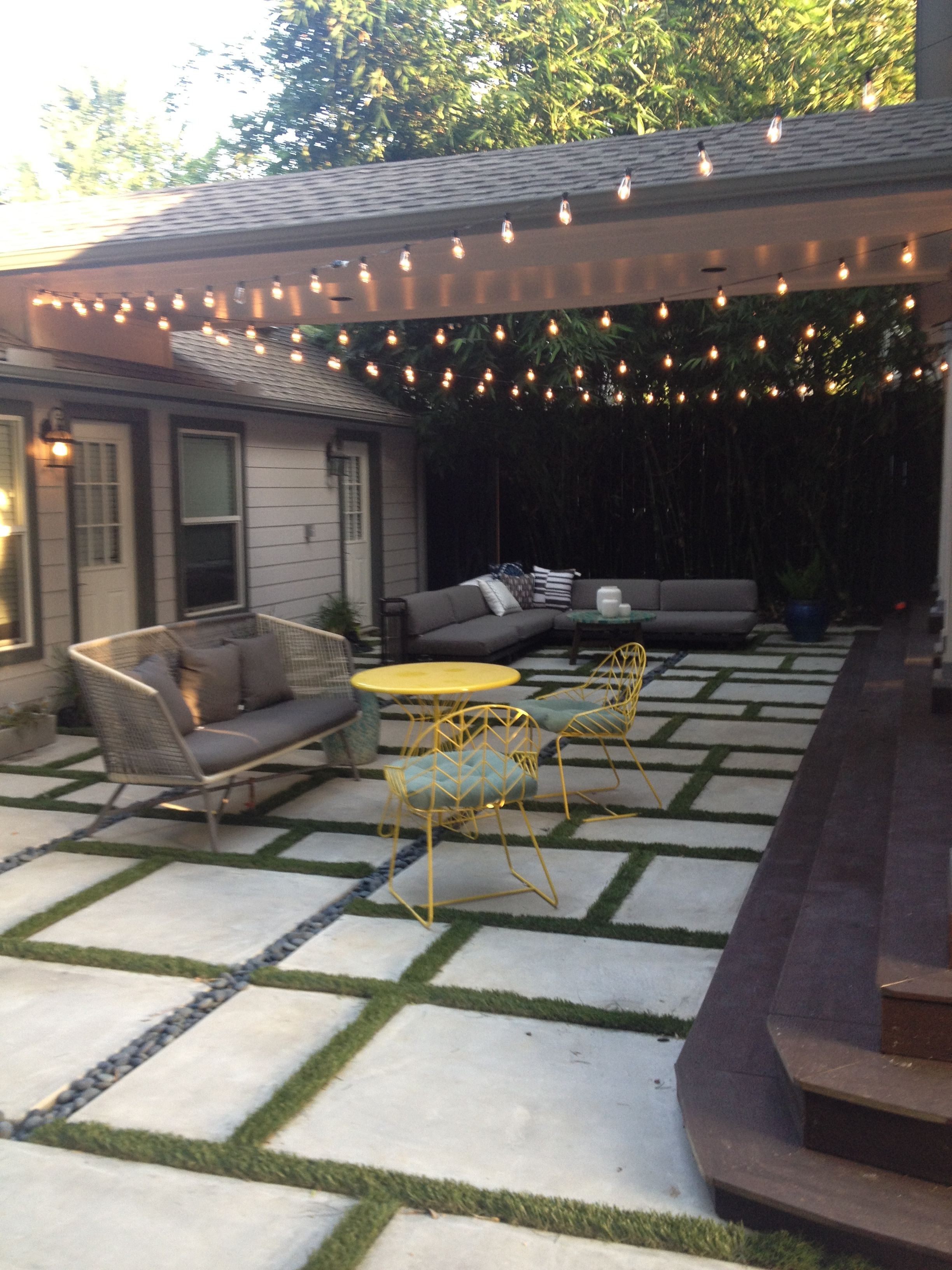 square and rectangle concrete forms with turf grass in ... on Rectangle Patio Ideas  id=68007