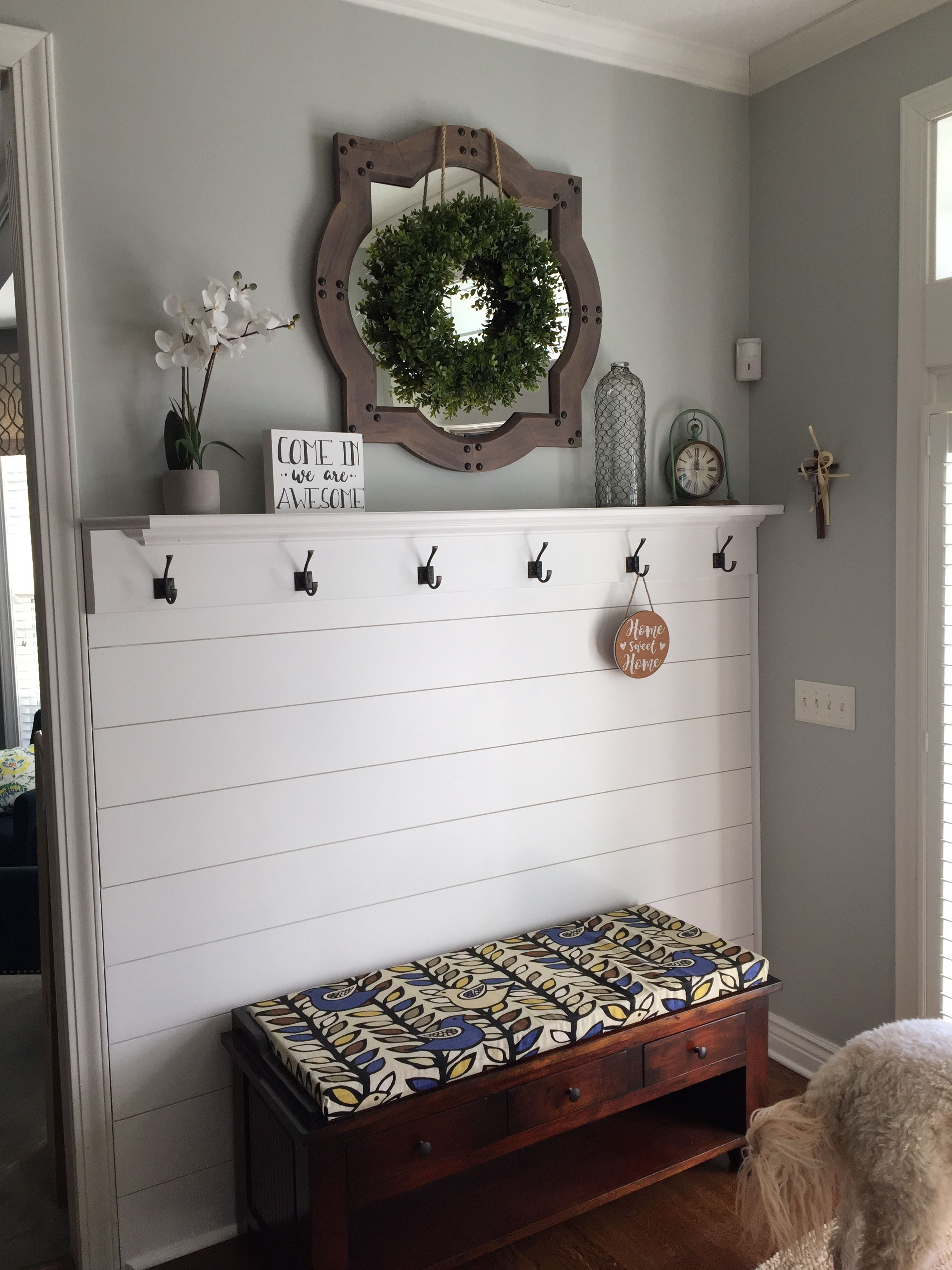 Shiplap Entryway Wall Decor Entryway Bench Storage Home Remodeling