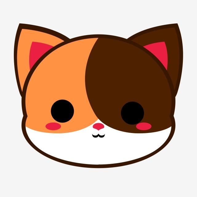 Cute Calico Cat Head Cat Chibi Cartoon Png Transparent Clipart