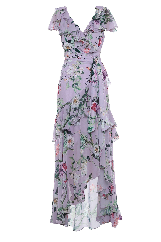 9b7547110 Vestidos Longos - Vestido Longo Crepe Floral Sirlene
