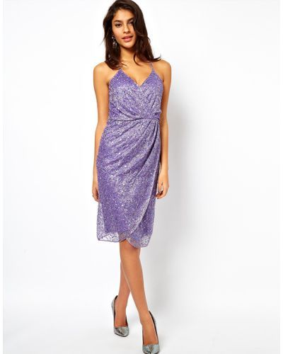 Women s Purple Asos Cami Wrap Dress with Holographic Embellishment ... c328ed7bf