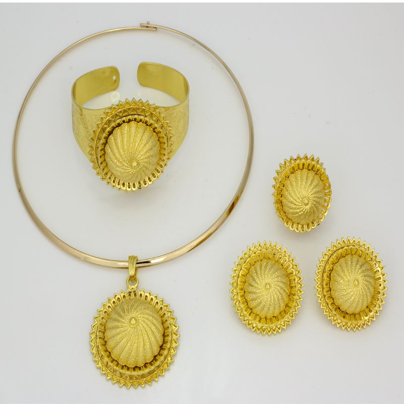 CZ 2016 Ethiopian Real Gold Plated Necklace Earrings Ring Bangle