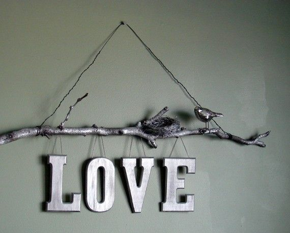 Natural Twig Love Wall SignSilver painted by ChristinesCreations1