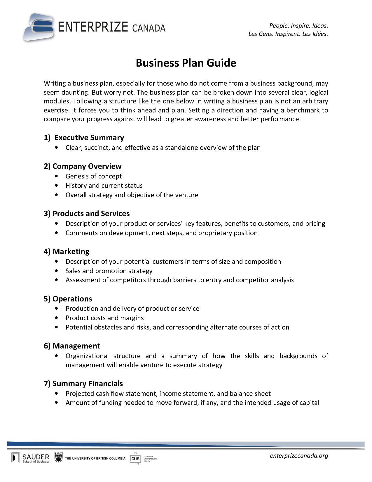 Printable Sample Business Plan Sample Form | Generic Form ...