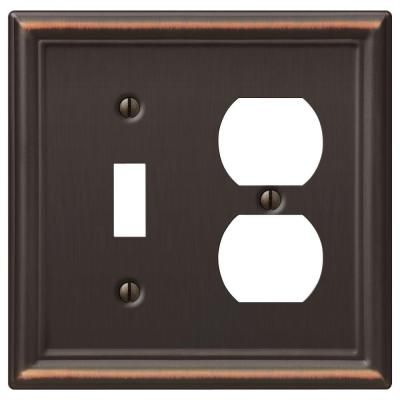 Amerelle Chelsea 1 Toggle And 1 Duplex Wall Plate Aged Bronze