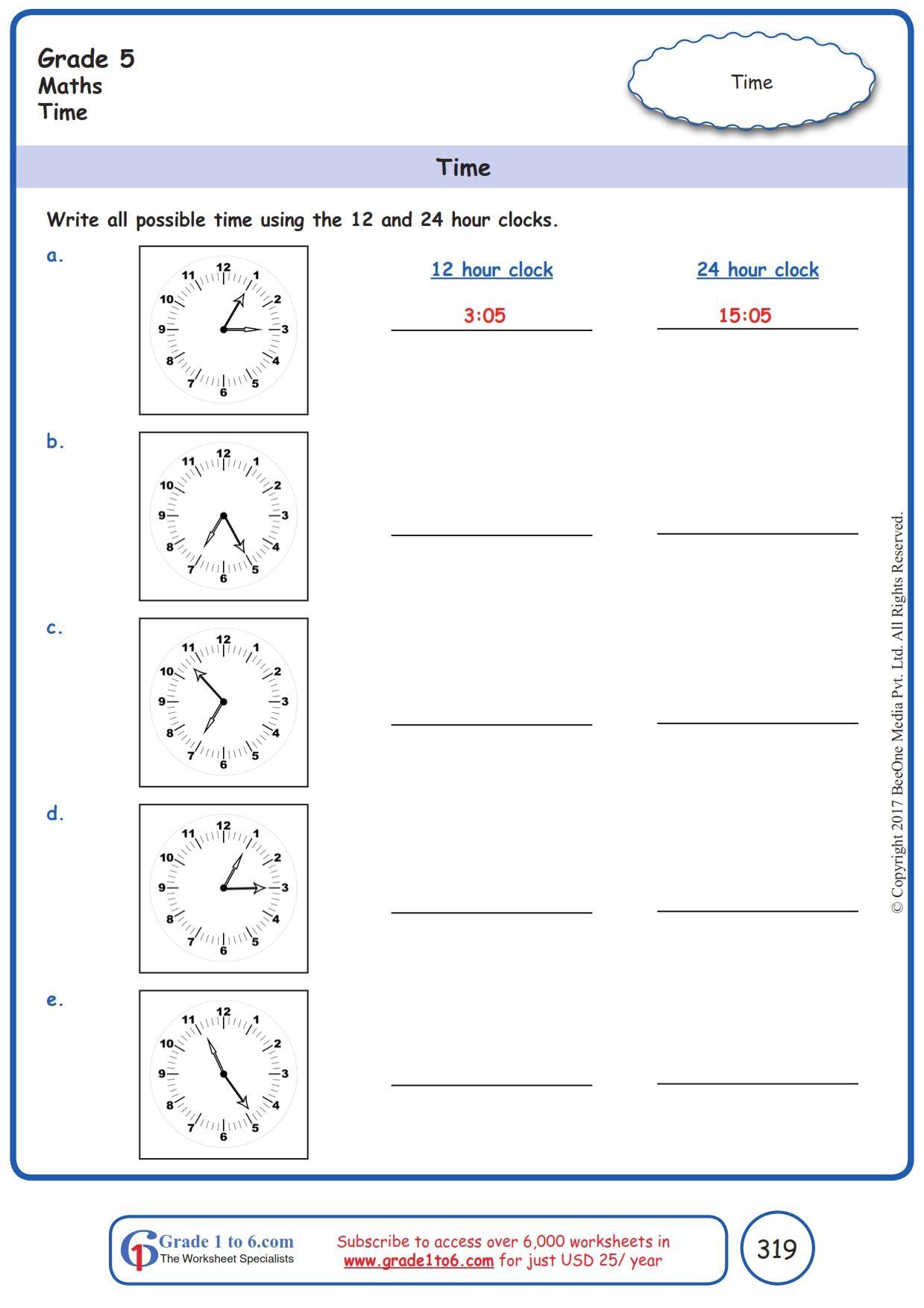 hight resolution of Worksheet Grade 5 Math Time   Math worksheets