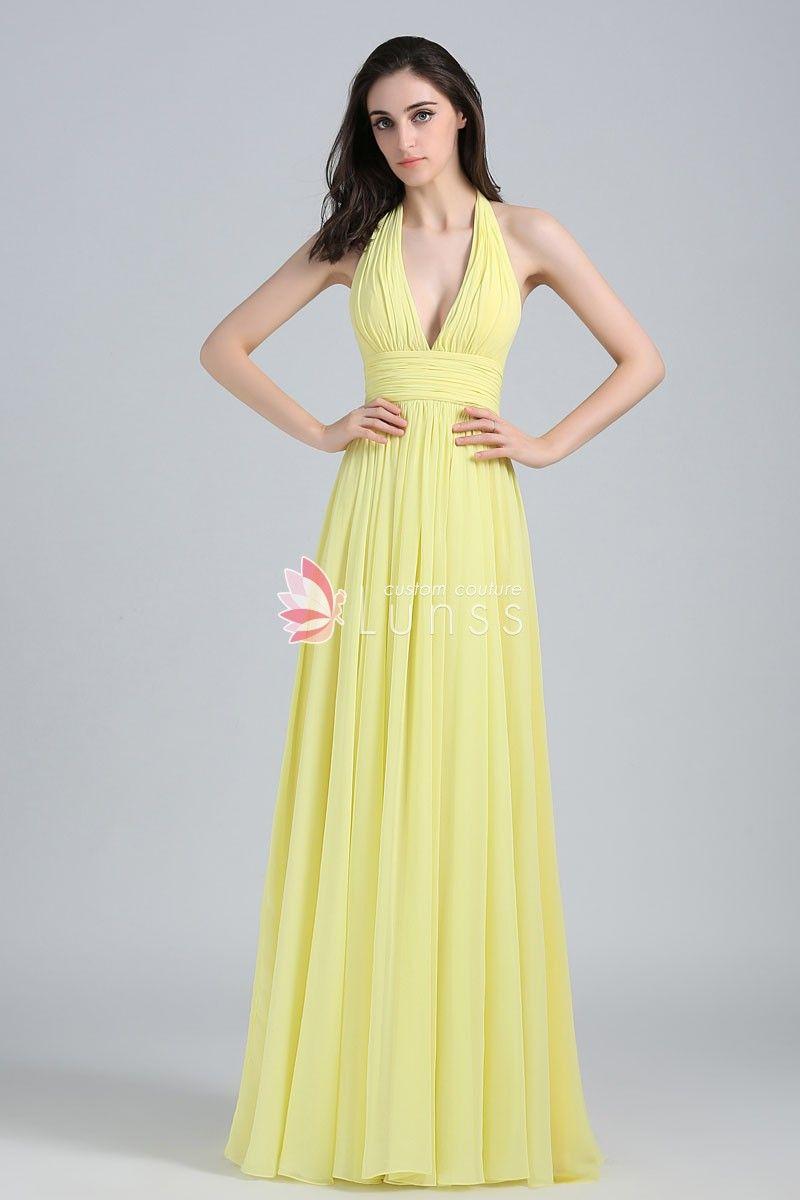 7c609758aea Modest Yellow Chiffon Plunging Halter Neck A line Long Evening Prom Dress