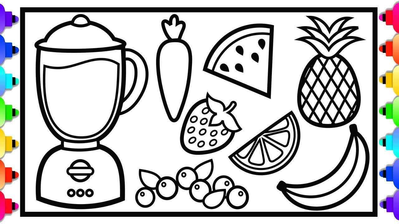 How To Draw And Color Atoy Blender And Fruit Juice For Kids