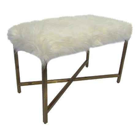 Swell Faux Fur Bench White Gold Threshold Target Andrewgaddart Wooden Chair Designs For Living Room Andrewgaddartcom