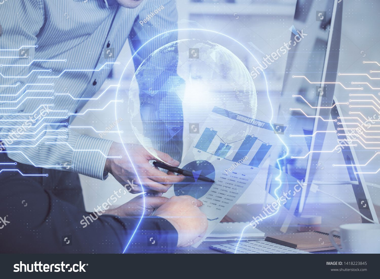 Man with computer background with brain theme hologram Concept of brainstorm Double exposure