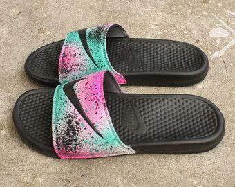 322c01daceca41 Nike Custom Galaxy Benassi Swoosh Slide Sandals Flip flops NWT ...