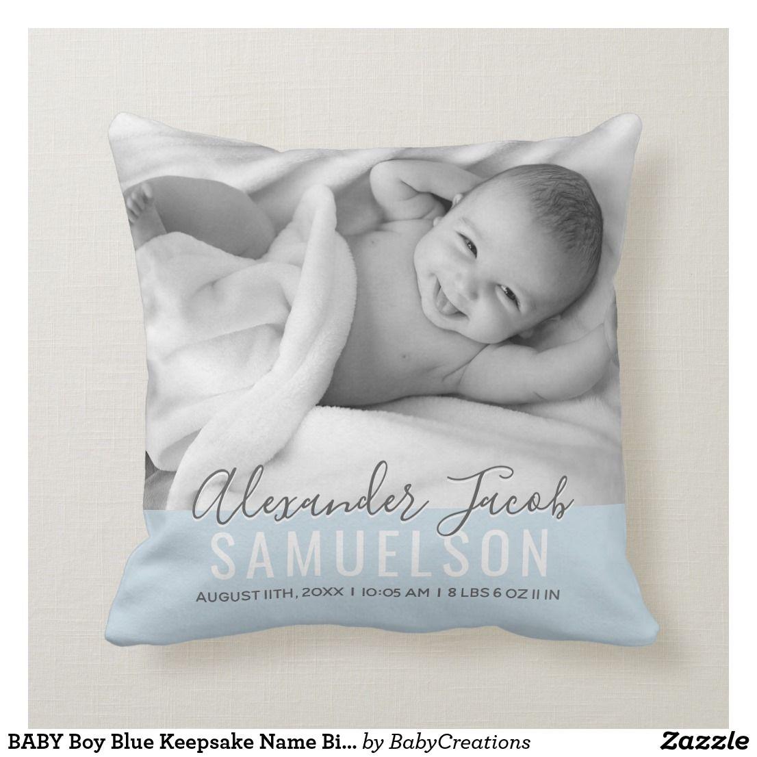 BABY Boy Blue Keepsake Name Birth Date PHOTO Throw Pillow