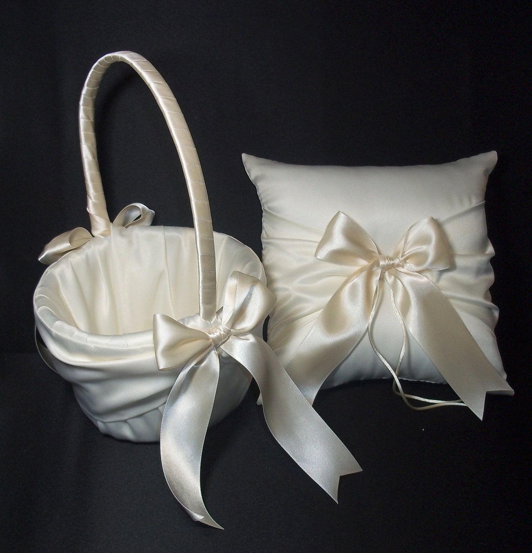 Ivory or White Wedding Ring Bearer Pillow & Flower Girl Basket 2pc