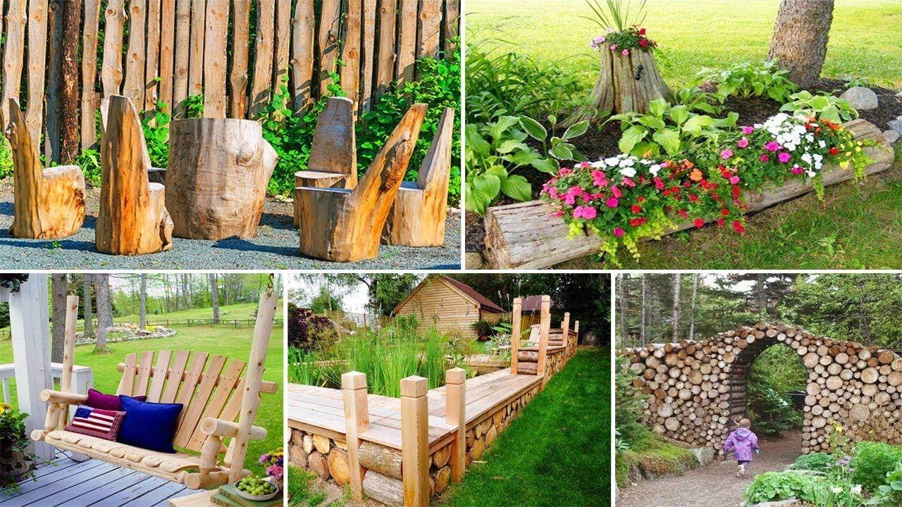 100 Amazing Diy Wood Log Ideas For Your Garden Diy Garden Garden Crafts Diy Diy Yard Decor Diy Garden