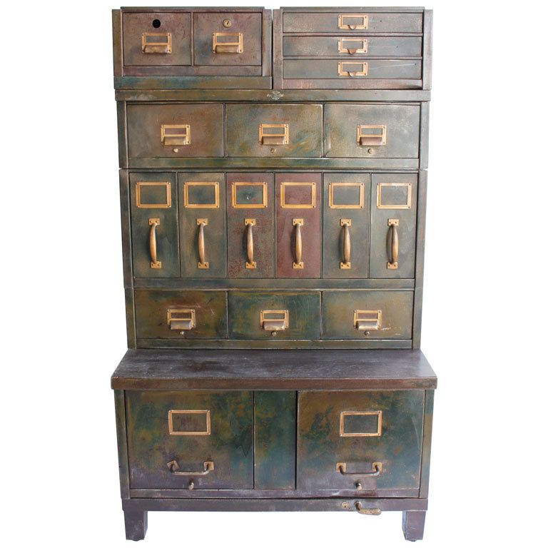 Exceptional 1930u0027s American Industrial Metal File Cabinet