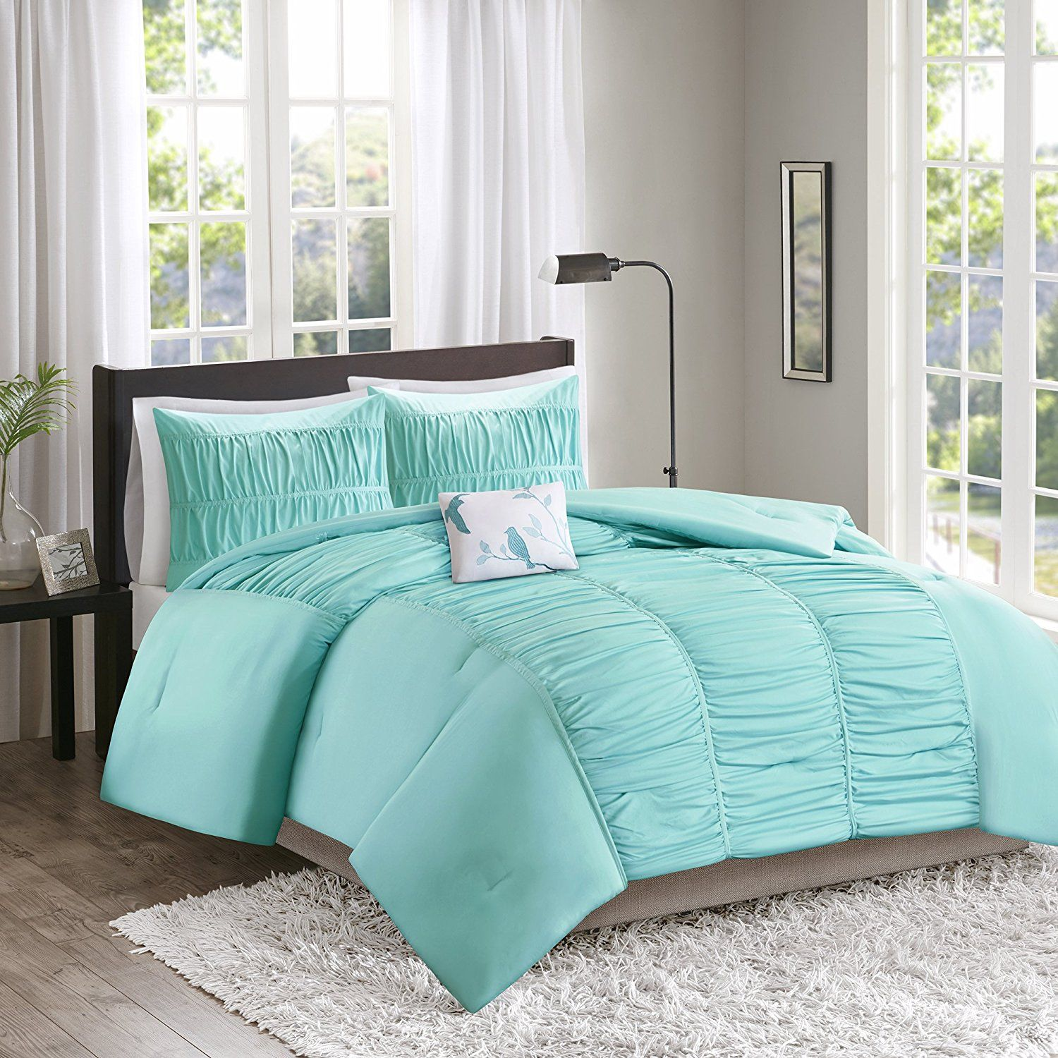 Amazon Comforter Set  4 Piece Aqua Blue Just $1499