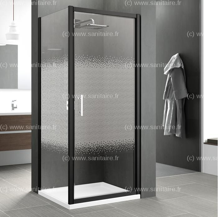Porte pivotante zephyros g 100cm verre s rigraphi profil s noir douche verre s rigraphi - Porte douche serigraphie ...