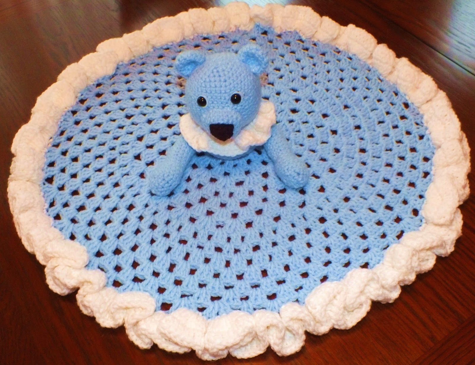 Connies spot crocheting crafting creating free teddy bear heres another free pattern by connie hughes designs free teddy bear granny circle security blanket pattern bankloansurffo Images