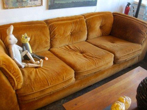 Orange Velour Sofas