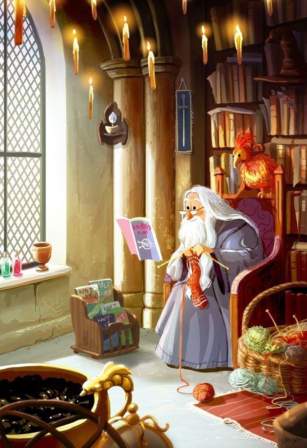 Dumbledore's Down Time, an art print by Yaoyao Ma Van As
