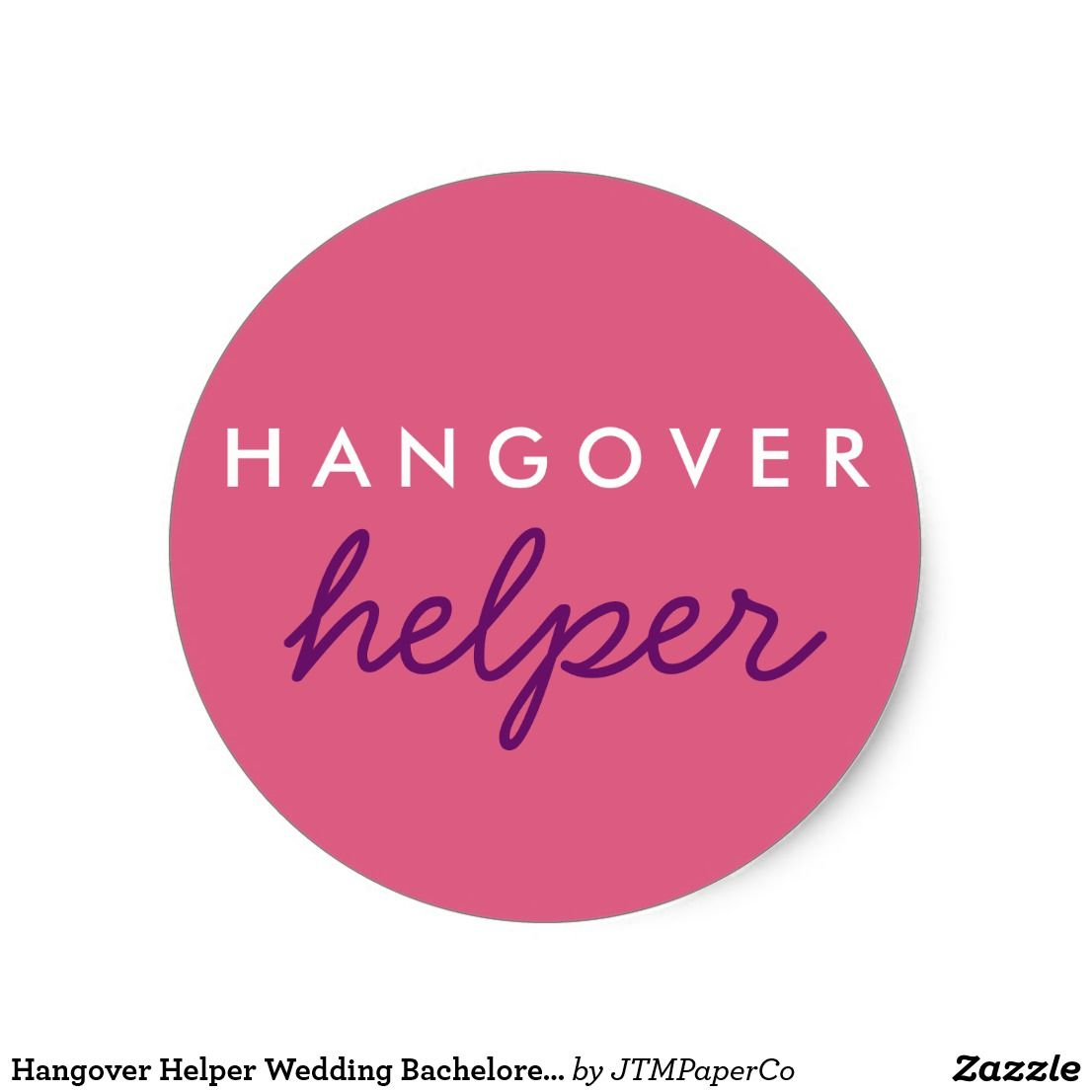 Hangover Helper Wedding Bachelorette Favor Sticker in Blush pink and ...
