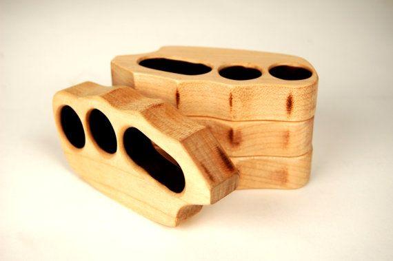 Dusty Knuckles Handmade Wooden Brass Knuckles Novelty Item L